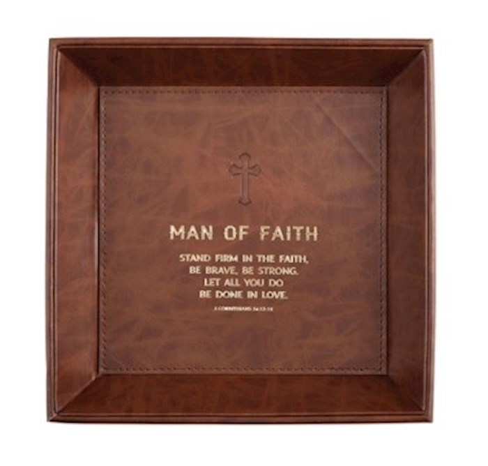 Tabletop Tray-Man Of Faith (1 Corinthians 16:13) (8.5 x 8.5) | SHOPtheWORD