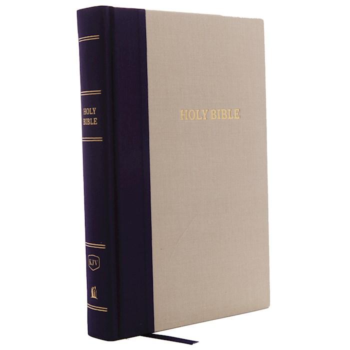 KJV Giant Print Reference Bible (Comfort Print)-Blue/Tan Cloth Over Board | SHOPtheWORD
