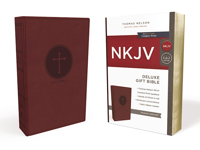 NKJV Deluxe Gift Bible (Comfort Print)-Burgundy Leathersoft | SHOPtheWORD