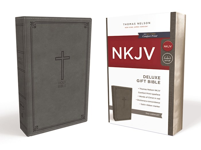 NKJV Deluxe Gift Bible (Comfort Print)-Gray Leathersoft | SHOPtheWORD