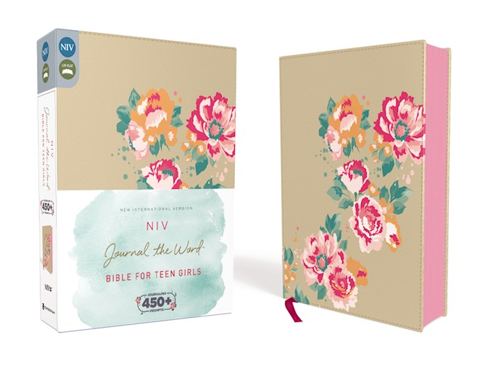 NIV Journal The Word Bible For Teen Girls-Gold/Floral Leathersoft | SHOPtheWORD