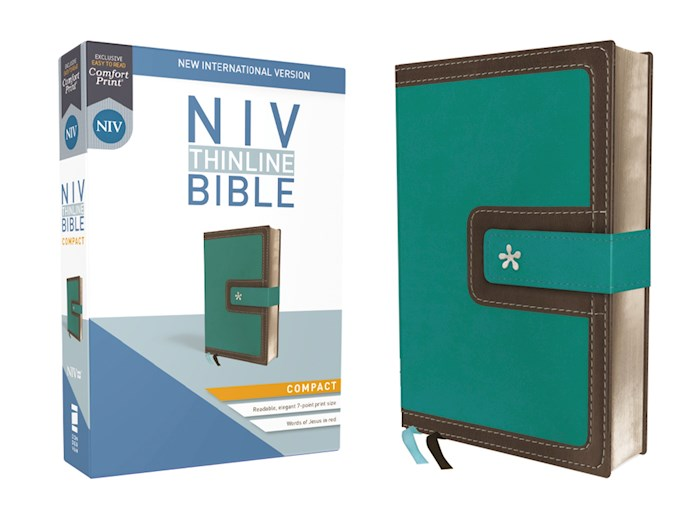NIV Thinline Bible/Compact (Comfort Print)-Turquoise/Chocolate Leathersoft  | SHOPtheWORD