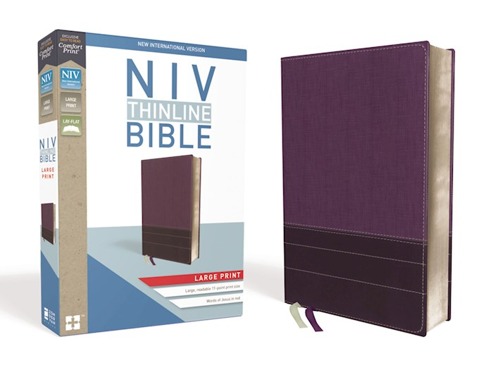 NIV Thinline Bible/Large Print (Comfort Print)-Purple/Plum Leathersoft  | SHOPtheWORD