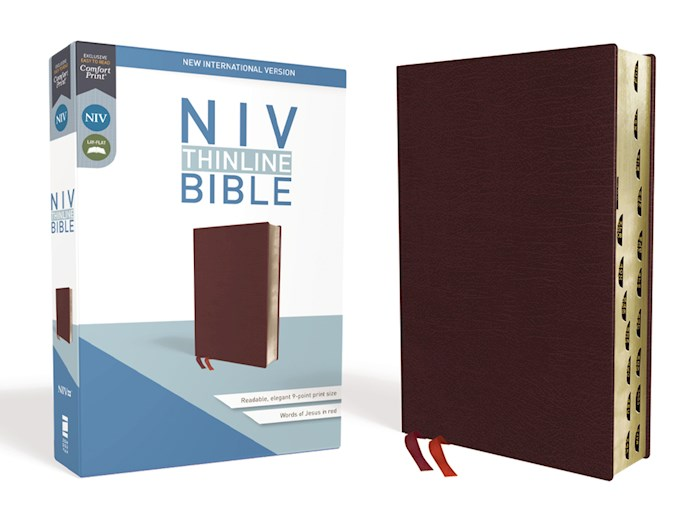 NIV Thinline Bible (Comfort Print)-Burgundy Bonded Leather Indexed  | SHOPtheWORD