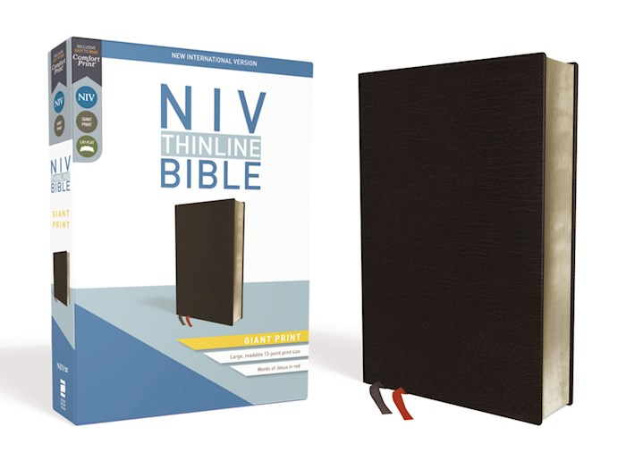 NIV Thinline Bible/Giant Print (Comfort Print)-Black Bonded Leather  | SHOPtheWORD