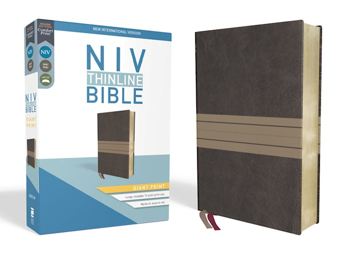 NIV Thinline Bible/Giant Print (Comfort Print)-Chocolate/Tan Leathersoft  | SHOPtheWORD