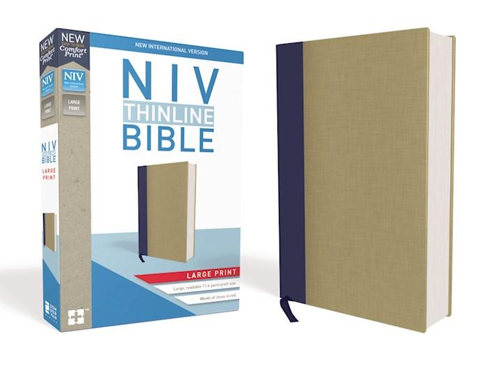 NIV Thinline Bible/Large Print (Comfort Print)-Blue/Tan Cloth Over Board  | SHOPtheWORD
