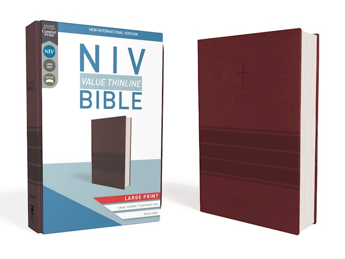 NIV Value Thinline Bible/Large Print (Comfort Print)-Burgundy Leathersoft  | SHOPtheWORD