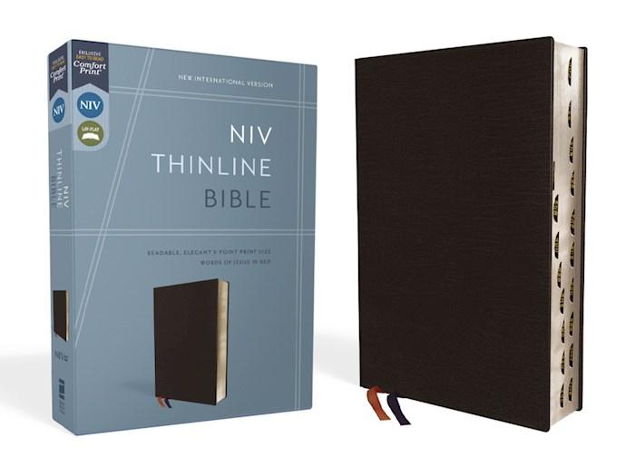 NIV Thinline Bible (Comfort Print)-Black Bonded Leather Indexed | SHOPtheWORD
