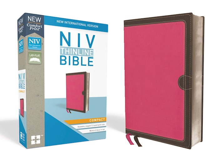NIV Thinline Bible/Compact (Comfort Print)-Pink/Chocolate Leathersoft  | SHOPtheWORD