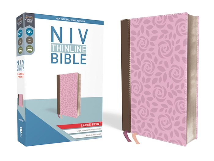 NIV Thinline Bible/Large Print (Comfort Print)-Pink Leathersoft | SHOPtheWORD