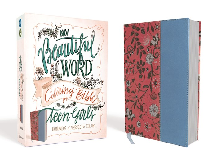 NIV Beautiful Word Coloring Bible For Teen Girls-Cranberry/Blue Leathersoft | SHOPtheWORD
