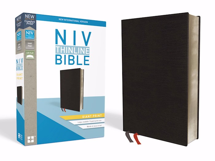 NIV Thinline Bible/Giant Print (Comfort Print)-Black Bonded Leather Indexed  | SHOPtheWORD