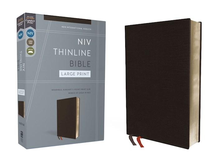 NIV Thinline Bible/Large Print (Comfort Print)-Black Bonded Leather | SHOPtheWORD