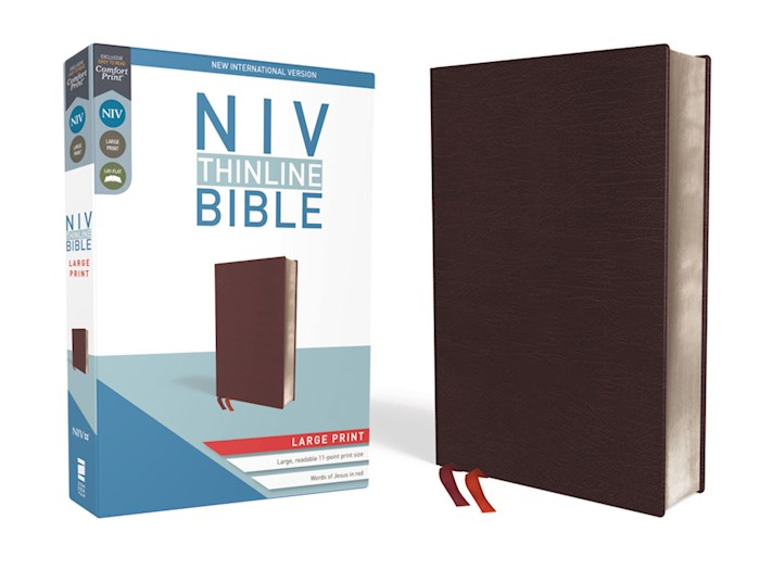 NIV Thinline Bible/Large Print (Comfort Print)-Burgundy Bonded Leather  | SHOPtheWORD