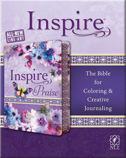 NLT Inspire Praise Bible-Purple Garden LeatherLike | SHOPtheWORD