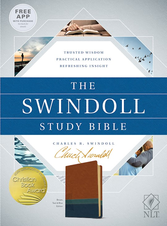 NLT Swindoll Study Bible-Brown/Teal/Blue TuTone | SHOPtheWORD