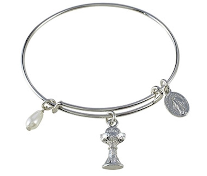 "Bracelet-First Communion-Bangle-Silver Plate (2.75"" Dia) 