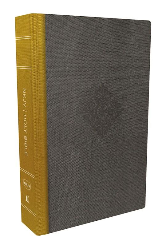 NKJV Deluxe Reader's Bible-Yellow/Gray Cloth Over Board | SHOPtheWORD