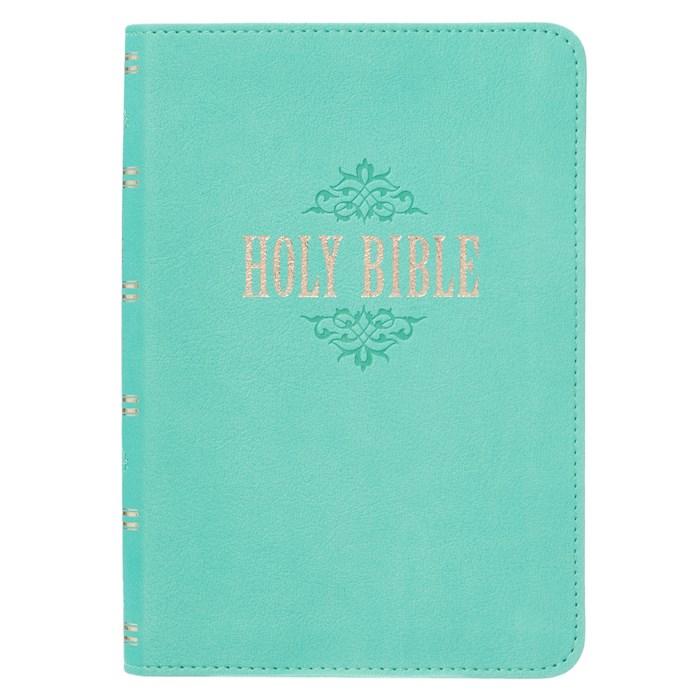 KJV Compact/Large Print Bible-Teal LuxLeather | SHOPtheWORD