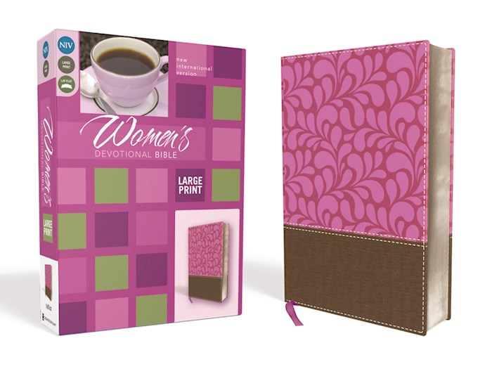 NIV Women's Devotional Bible/Large Print-Chocolate/Orchid Leathersoft | SHOPtheWORD
