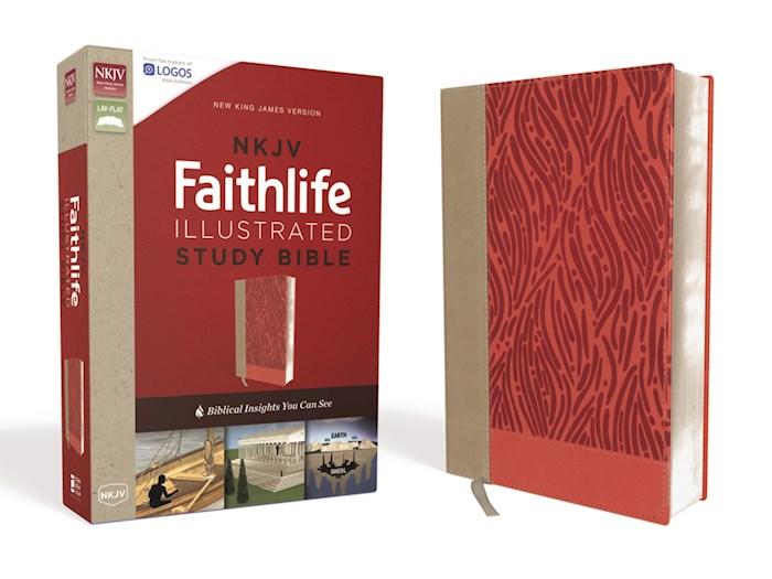 NKJV Faithlife Illustrated Study Bible-Salmon Leathersoft | SHOPtheWORD