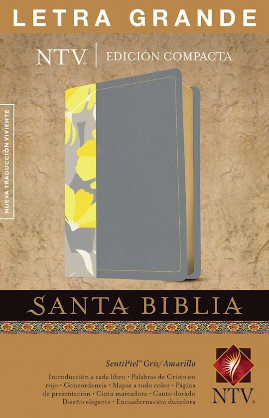 Span-NTV Compact Large Print Bible-Gray/Yellow LeatherLike (Edición Compacta NTV Letra Grande) | SHOPtheWORD
