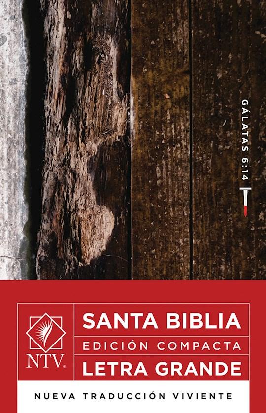 Span-NTV Compact Large Print Bible (Gal 6:14)-Wood Design LeatherLike | SHOPtheWORD