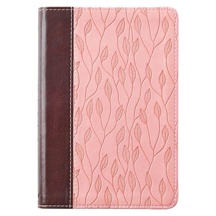 KJV Compact Bible-Brown/Pink Leaf Design LuxLeather | SHOPtheWORD