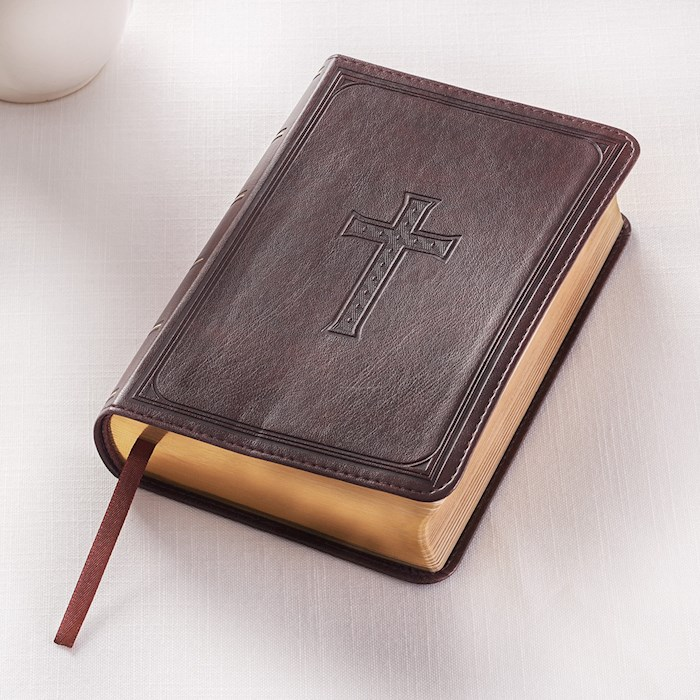 KJV Compact/Large Print Bible-Dark Brown LuxLeather | SHOPtheWORD
