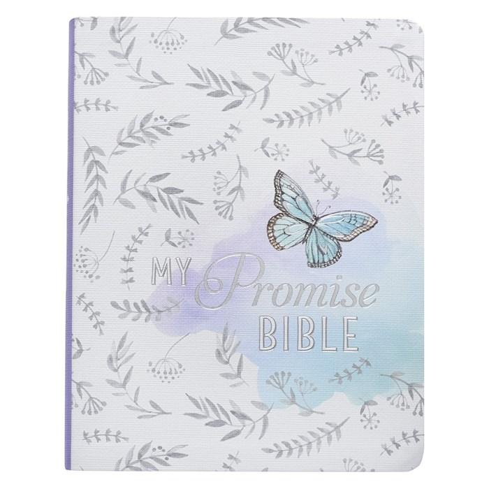 KJV My Promise Bible-White/Purple Butterfly Design Hardcover | SHOPtheWORD