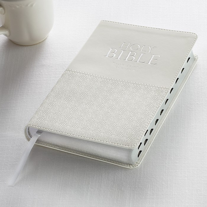KJV Deluxe Gift Bible-White LuxLeather Indexed | SHOPtheWORD