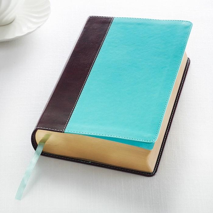 KJV Giant Print Bible-Dark Brown/Teal LuxLeather   SHOPtheWORD