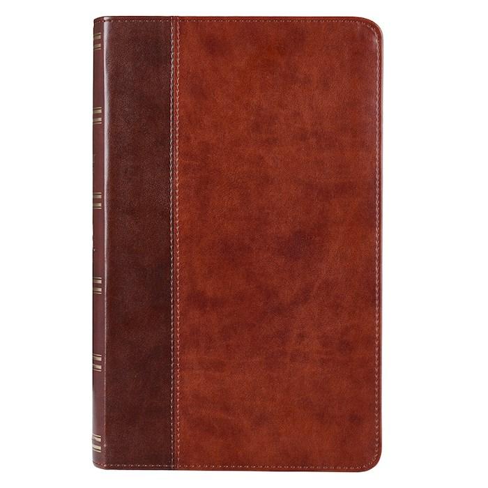 KJV Giant Print Bible-Dark Brown/Tan LuxLeather | SHOPtheWORD