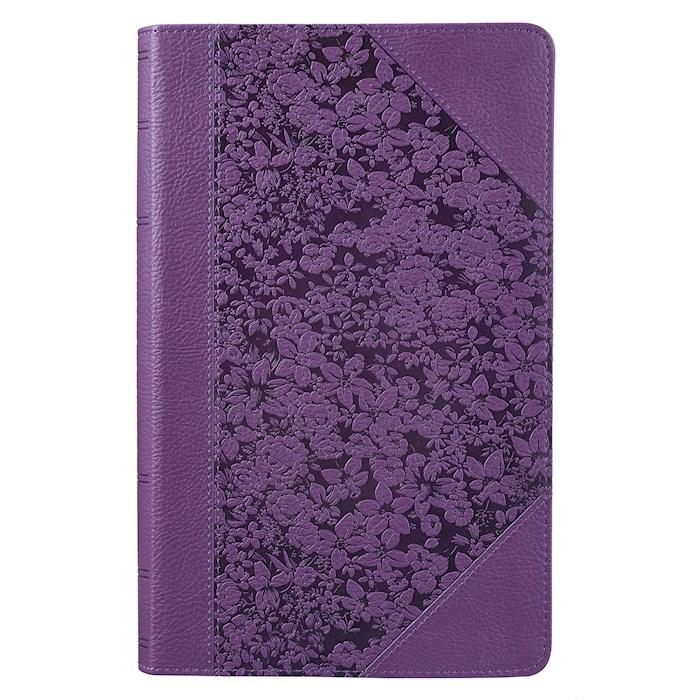 KJV Giant Print Bible-Purple Floral Portfolio LuxLeather  | SHOPtheWORD