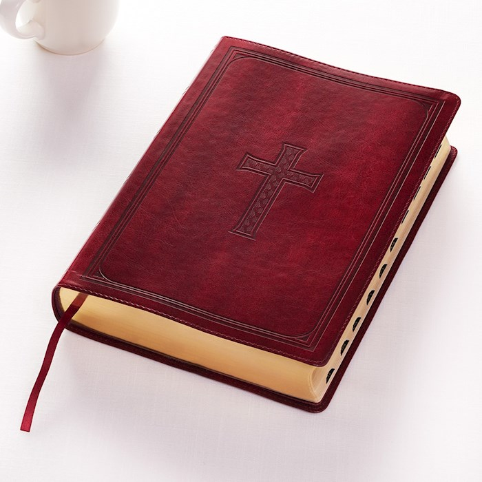 KJV Super Giant Print Bible-Burgundy LuxLeather Indexed | SHOPtheWORD