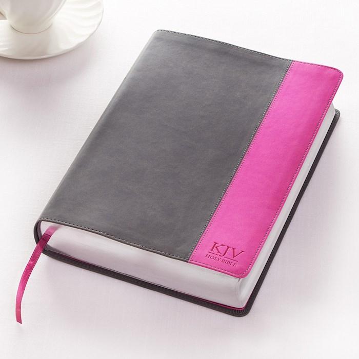 KJV Super Giant Print Bible-Charcoal/Pink LuxLeather   SHOPtheWORD