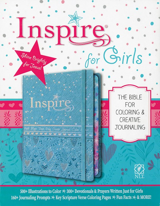 NLT Inspire Bible For Girls-Metallic Blue Hardcover   SHOPtheWORD