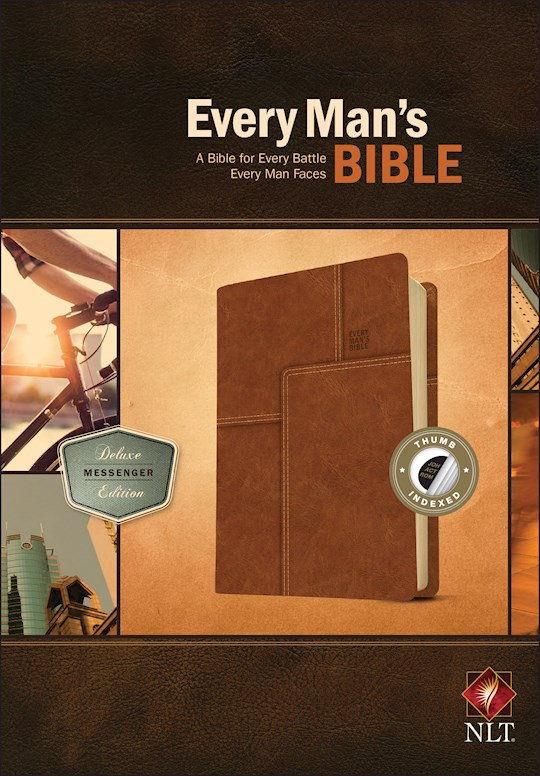 NLT Every Man's Bible: Deluxe Messenger Edition-Layered Brown LeatherLike Indexed | SHOPtheWORD