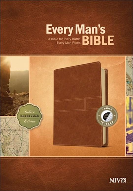 NIV Every Man's Bible-Deluxe Journeyman Edition-Burnt Khaki LeatherLike Indexed | SHOPtheWORD