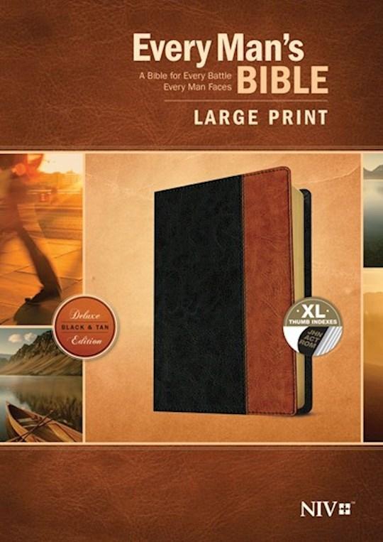 NIV Every Man's Bible/Large Print-Black/Tan TuTone Indexed | SHOPtheWORD