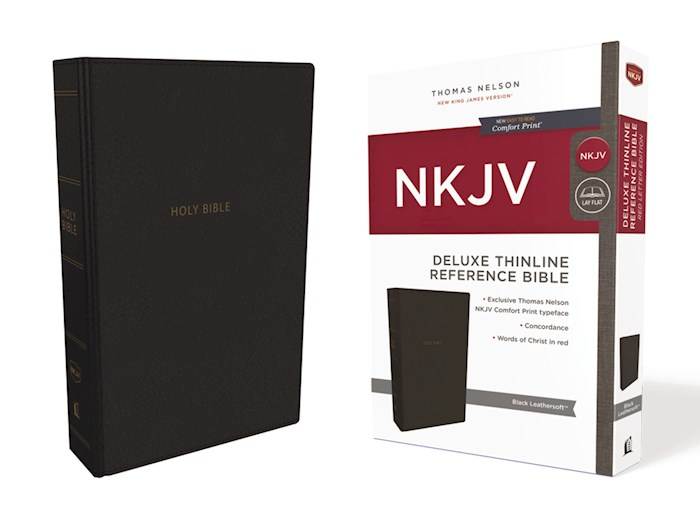NKJV Deluxe Thinline Reference Bible (Comfort Print)-Black Leathersoft | SHOPtheWORD