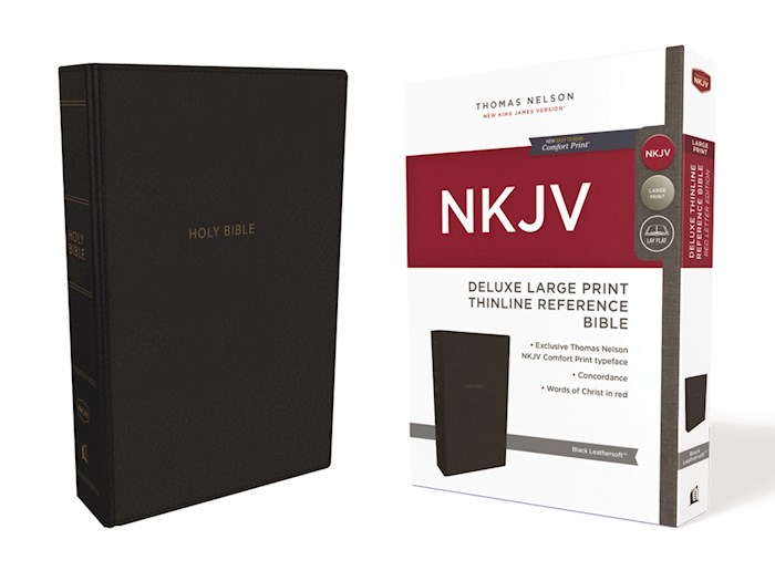NKJV Deluxe Large Print Thinline Reference Bible (Comfort Print)-Black Leathersoft | SHOPtheWORD