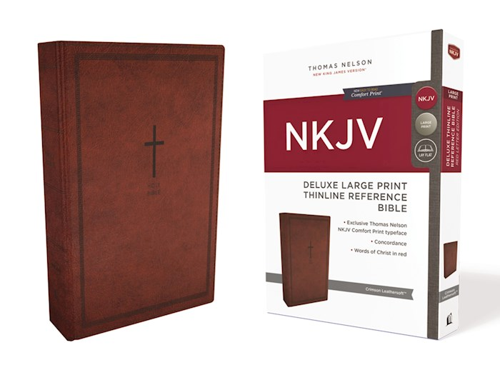 NKJV Deluxe Large Print Thinline Reference Bible (Comfort Print)-Crimson Leathersoft  | SHOPtheWORD