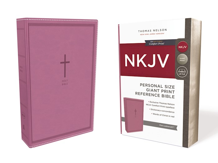 NKJV Personal Size Giant Print Reference Bible (Comfort Print)-Pink Leathersoft | SHOPtheWORD