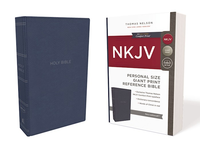 NKJV Personal Size Giant Print Reference Bible (Comfort Print)-Navy LeatherSoft | SHOPtheWORD