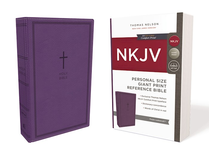 NKJV Personal Size Giant Print Reference Bible (Comfort Print)-Purple Leathersoft | SHOPtheWORD