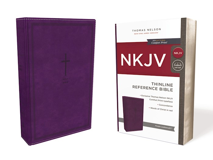 NKJV Thinline Reference Bible (Comfort Print)-Purple Leathersoft | SHOPtheWORD