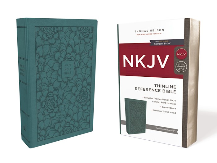 NKJV Thinline Reference Bible (Comfort Print)-Turquoise Leathersoft | SHOPtheWORD