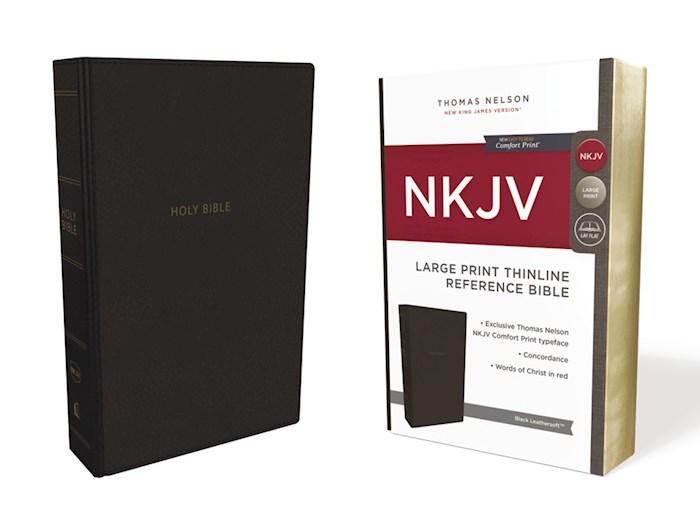 NKJV Large Print Thinline Reference Bible (Comfort Print)-Black Leathersoft    SHOPtheWORD